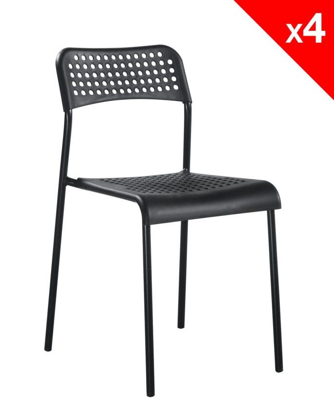 lot de 4 chaises empilables echo