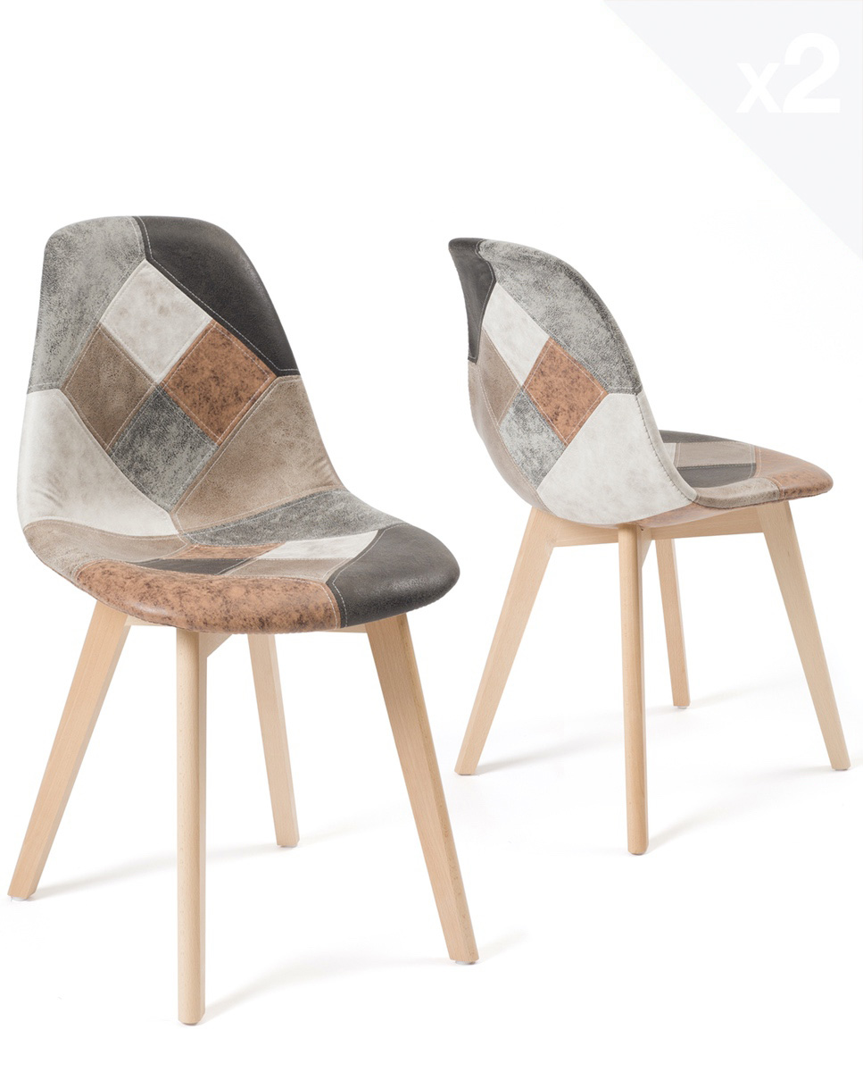 chaises patchwork scandinaves nada lot de 2