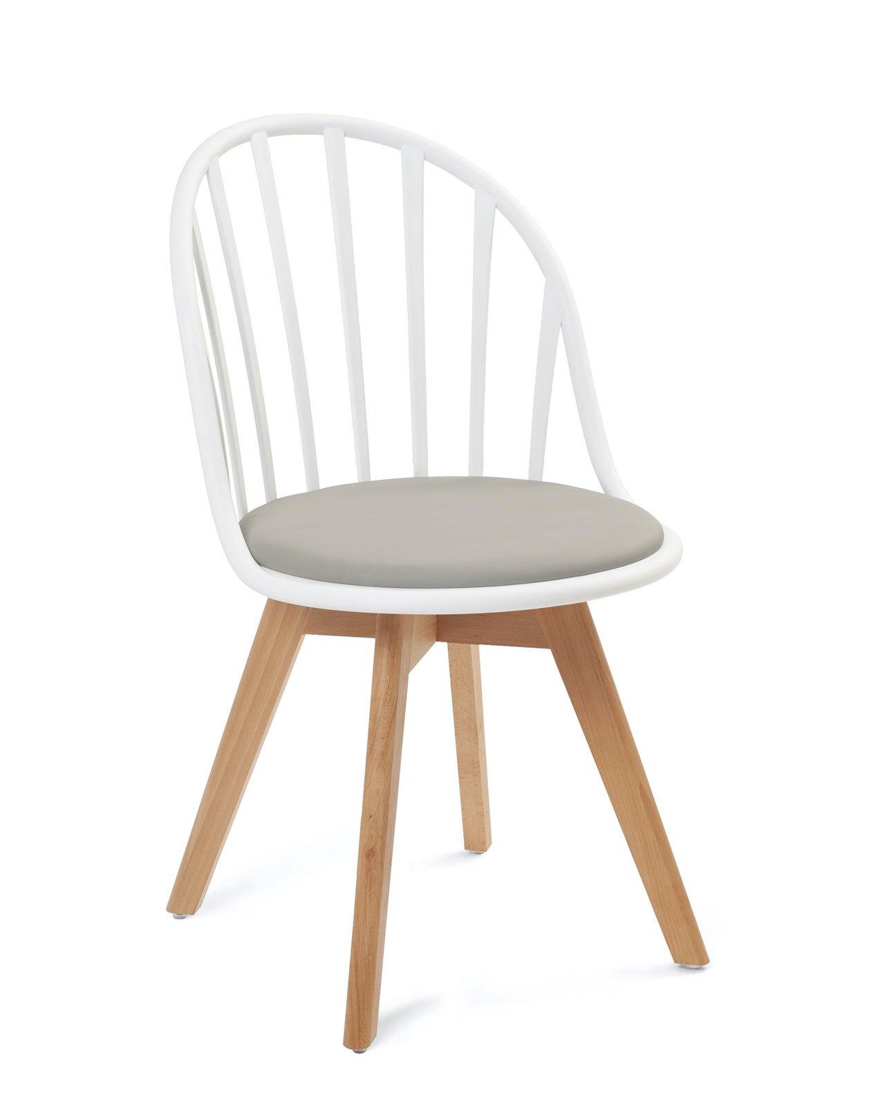 chaise scandinave a barreaux avec coussin bold lot de 2