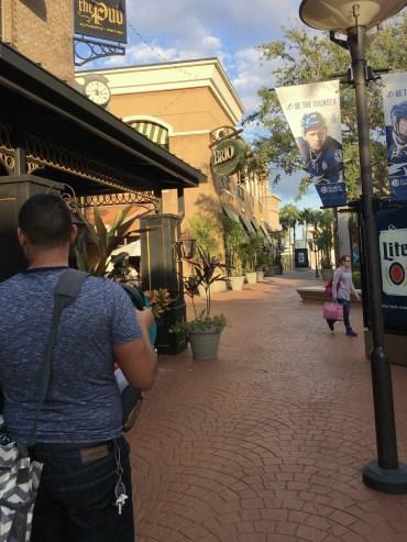 Walking around the International Mall outdoor area