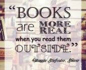 """""""Books are more real when you read them outside."""" Maggie Stiefvater (Really, it's me), Shiver"""