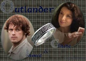 Outlander Claire Beauchamp Randall and James Alexander Malcolm MacKenzie Fraser by Diana Gabaldon — with Sam Heughan and Caitriona Balfe.