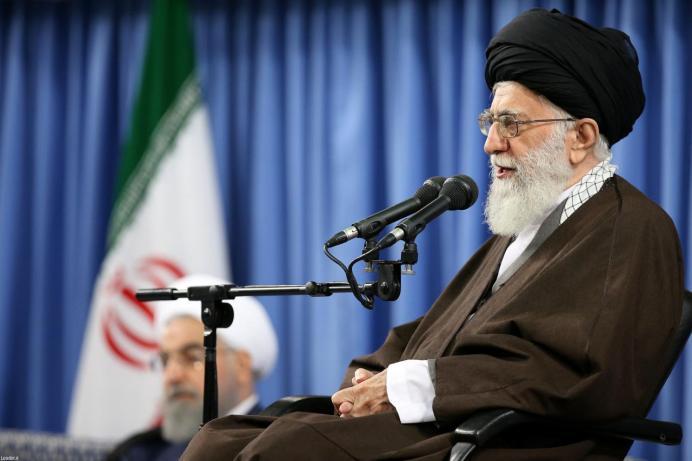FILE PHOTO: Iran's Supreme Leader Ayatollah Ali Khamenei speaks during a meeting with Iranian officials and ambassadors of Islamic countries, in Tehran, Iran, April 25, 2017. Leader.ir/Handout via REUTERS