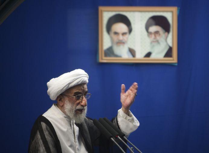 Ahmad Jannati speaks during Tehran's Friday prayers. REUTERS