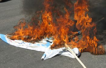 Burning of Israeli flags during anti-Israel protests in Nishapour, Iran. Source: Wikimedia Commons