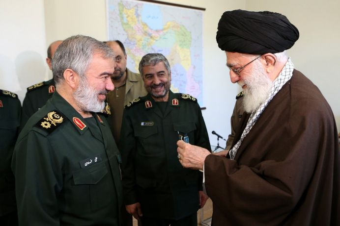 FILE PHOTO: Ayatollah Seyyed Ali Khamenei Gives the Order of conquest to Brigadier General Ali Fadavii. Source/Author: Khamenei.ir [This file is licensed under the Creative Commons Attribution 4.0 International license.]