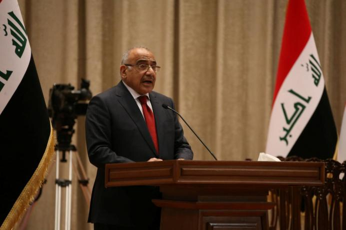 Iraq's Prime Minister-designate Adel Abdul Mahdi speaks to parliament he announces his new cabinet at the parliament headquarters in Baghdad, Iraq October 24, 2018. Iraqi Parliament Office/Handout via REUTERS