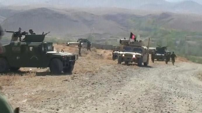 Security Humvees are seen after an attack by Taliban in Sayeed Abad district, Wardak Province, Afghanistan, in this still image taken from video on October 7, 2018. Reuters TV/via REUTERS