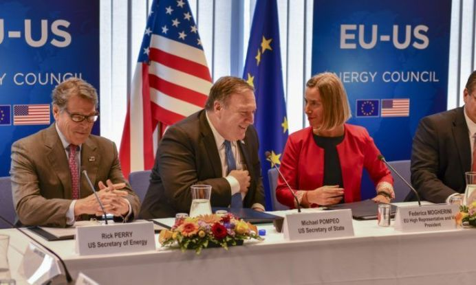 FILE PHOTO: U.S. Secretary of State Michael R. Pompeo chats with U.S. Secretary of Energy Rick Perry and U.S. Representative to the European Union Federica Mogherini at the United States EU Energy Council meeting in Brussels, Belgium on July 12, 2018. [State Department photo]