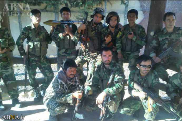 FILE PHOTO: Afghan fighters (Fatemiyoun Division) financed and trained by Iran, in Syria . Source: Kayhan London