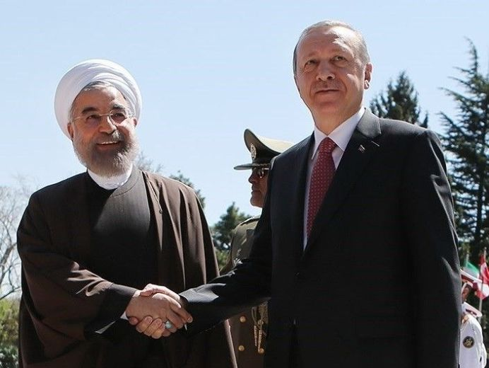 Hassan Rouhani welcomes Turkish President Recep Tayyip Erdoğan in Saadabad Palace. Iran. Wikimedia Commons
