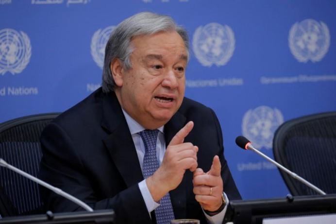 FILE PHOTO: United Nations Secretary-General Antonio Guterres. REUTERS/Lucas Jackson