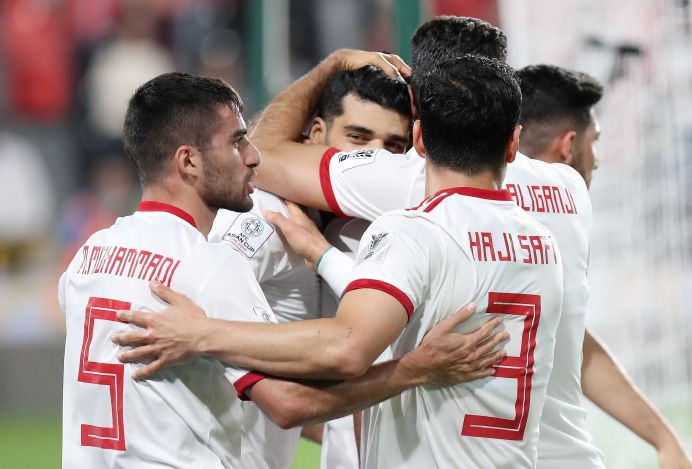 Quarter Final - China v Iran January 24, 2019. Iran's Mehdi Taremi celebrates scoring their first goal with team mates REUTERS/Suhaib Salem