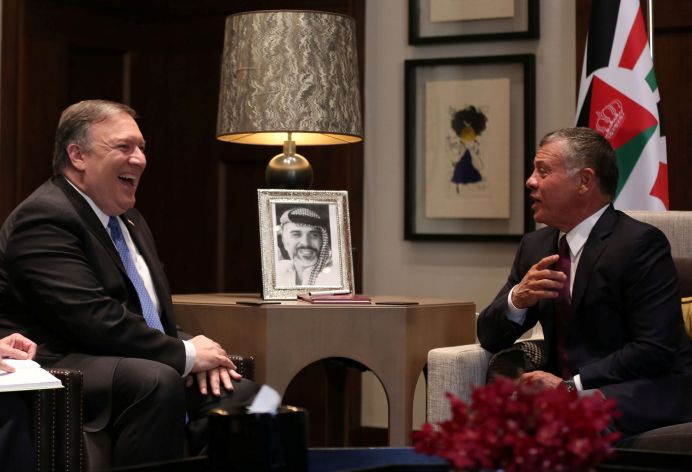 U.S. Secretary of State Mike Pompeo meets with Jordan's King Abdullah II at the Royal Palace in Amman, Jordan April 30, 2018. Khalil Mazraawi/Pool via Reuters