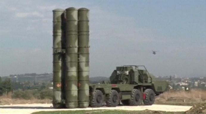 A Russian S-400 defense missile system deployed at Hmeymim airbase in Syria. REUTERS
