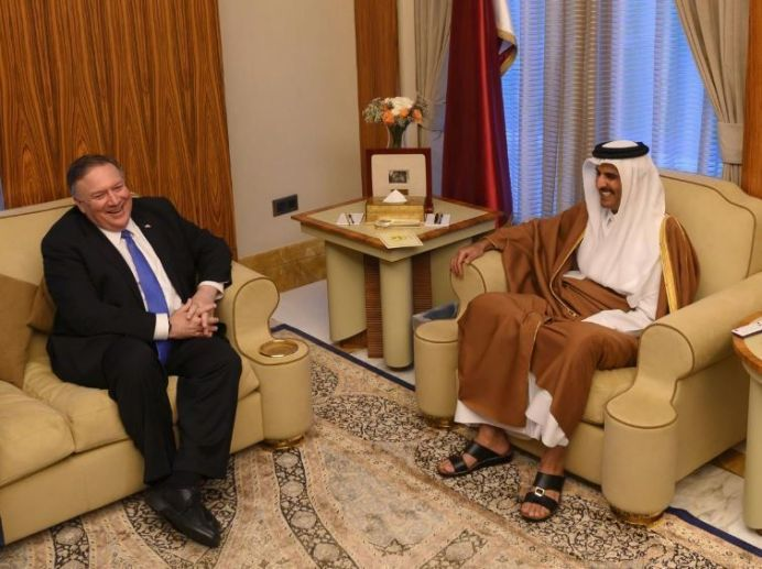 US Secretary of State Mike Pompeo meets with Emir of Qatar in Doha. Jan 13 2019. Reuters