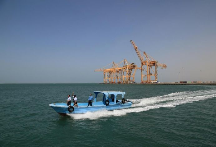 FILE PHOTO: Coast Guard forces are seen on a boat at the Red Sea port of Hodeida, Yemen. REUTERS