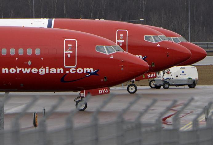 Parked Boeing 737-800 aircrafts belonging to budget carrier Norwegian Air are pictured at Stockholm Arlanda Airport, Sweden. REUTERS
