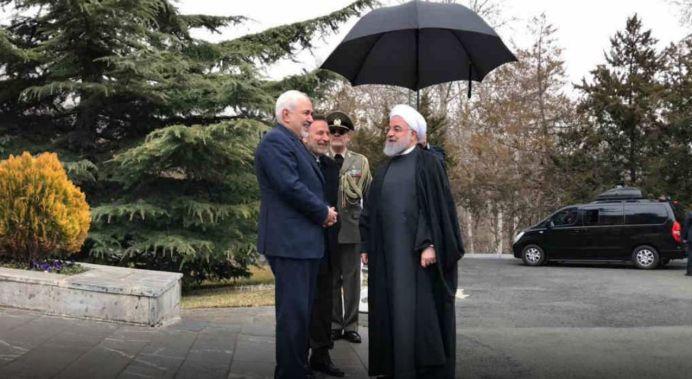 Hassan Rouhani (R) and Javad zarif ( L ) 27/02/19, Tehran , Iran. Kayhan London