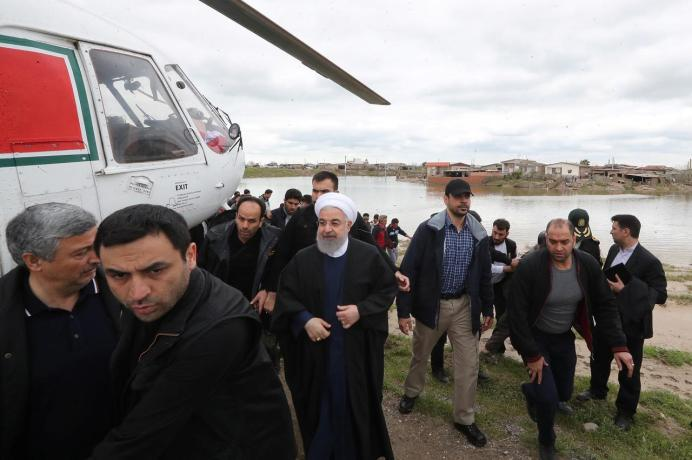 President Rouhani inspects flood damage in northern Iran. Reuters
