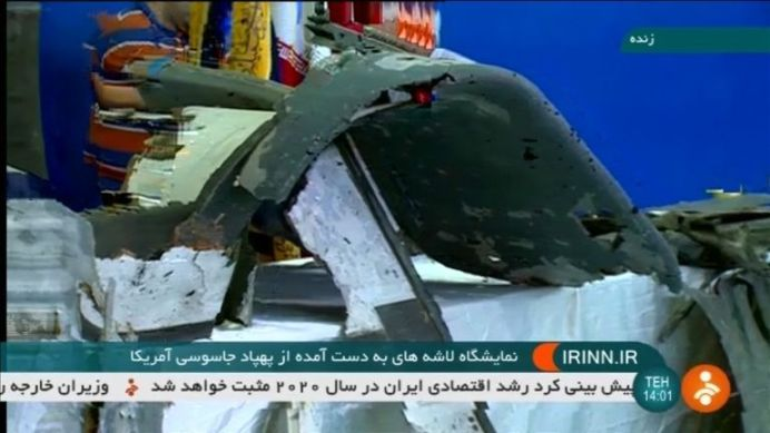Iranian TV shows purported retrieved sections of downed U.S. drone. REUTERS./