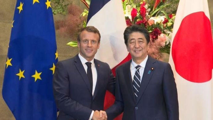 French President Macron meets Japanese PM Abe ahead of G20 summit. REUTERS /.