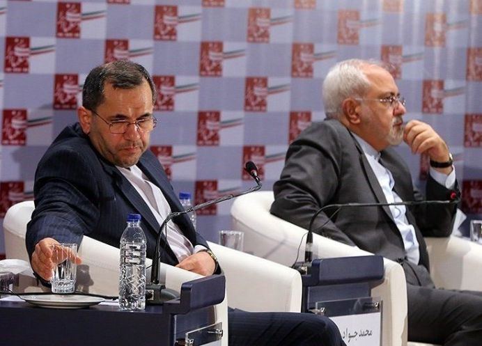 FILE PHOTO: Mohammad Javad Zarif (R) and Majid Takht Ravanchi (L). Author /Source: Mahmoud Hosseini, TasnimNews. [This file is licensed under the Creative Commons Attribution 4.0 International license.]
