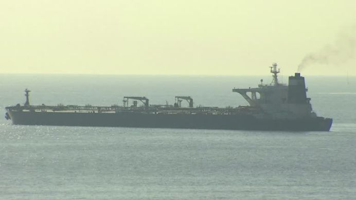 STILL PHOTOGRAPH OF SUPERTANKER GRACE 1 DETAINED IN GIBRALTAR ON SUSPICION OF CARRYING CRUDE OIL TO SYRIA.