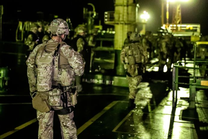 FILE PHOTO: British soldiers are seen during an operation involving the oil supertanker Grace 1. Royal Marines from 42 Commando took part in its seizure. UK Ministry of Defence/Reuters./