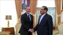 FILE PHOTO: France's top diplomat Emmanuel Bonne meets with Ali Shamkhani. REUTERS