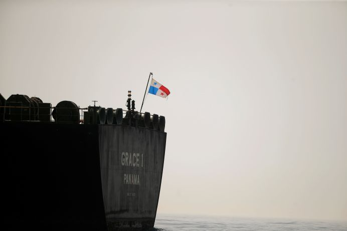 A Panama flag flies on the stern of the Iranian oil tanker Grace 1. REUTERS./