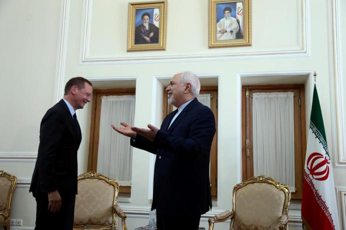France's top diplomat Emmanuel Bonne meets with Iran's Foreign Minister Mohammad Javad Zarif in Tehran, Iran July 10, 2019. Nazanin Tabatabaee/ REUTERS