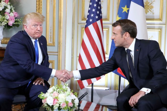 FILE PHOTO: U.S. President Donald Trump and French President Emmanuel Macron. REUTERS./