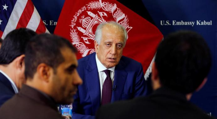 FILE PHOTO: U.S. special envoy for peace in Afghanistan, Zalmay Khalilzad, talks with local reporters at the U.S. embassy in Kabul, Afghanistan. Reuters./