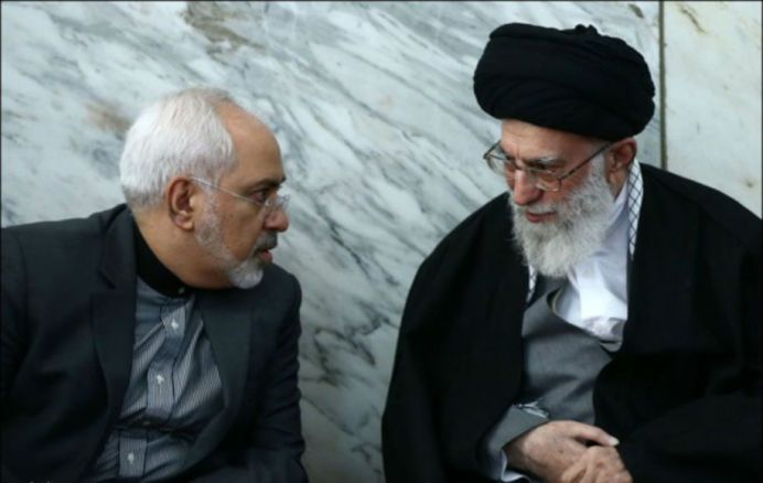 FILE PHOTO: Javad Zarif (L) with Ali Khamenei (R). Source: Kayhan London