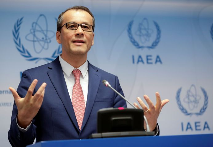 International Atomic Energy Agency (IAEA) acting head Cornel Feruta addresses the media during a board of governors meeting at the IAEA headquarters in Vienna, Austria September 9, 2019. REUTERS/Leonhard Foeger