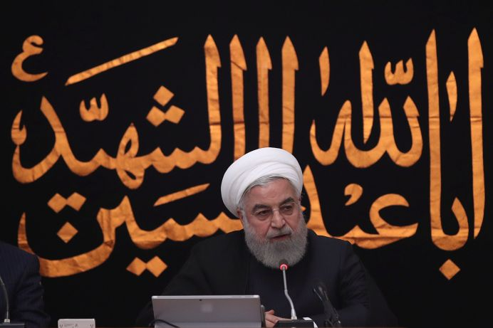 FILE PHOTO: Iranian President Hassan Rouhani speaks during the cabinet meeting in Tehran, Iran. REUTERS./