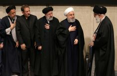 FILE PHOTO: Iran's Supreme Leader Ayatollah Ali Khamenei greetings President Hassan Rouhani, Judiciary ChiefEbrahim Reisi, during a mourning ceremony held by the supreme leader in Tehran for slain top general Qasem Soleimani,Tehran, Iran on January 9, 2020. REUTERS./