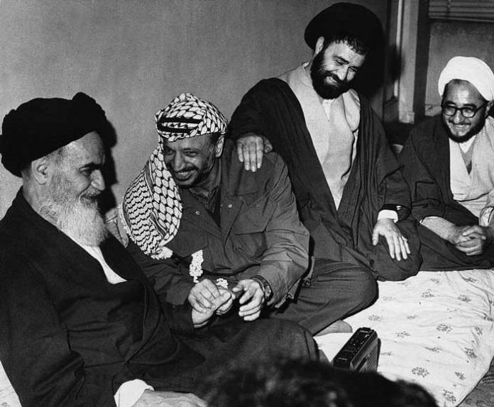 Yasser Arafat in Iran, meeting with Khomeini. Kayhan London