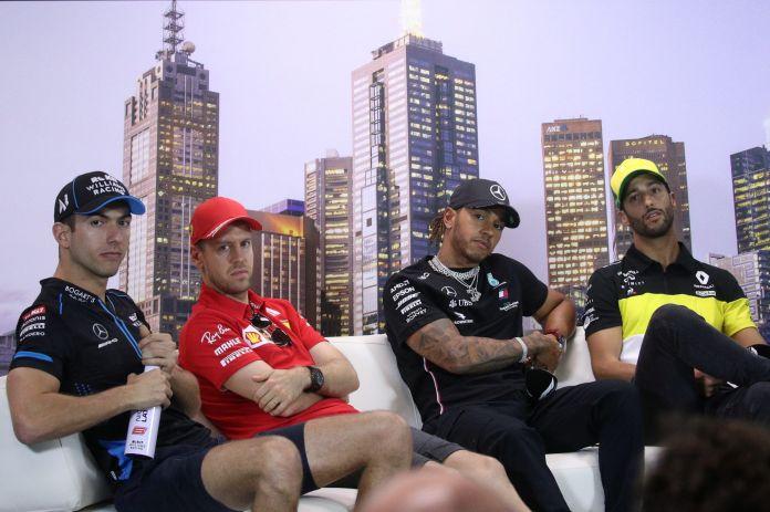 FILE PHOTO: Mercedes' Lewis Hamilton, Renault's Daniel Ricciardo, Ferrari's Sebastian Vettel and Williams' Nicholas Latifi during press conference   REUTERS/Loren Elliott