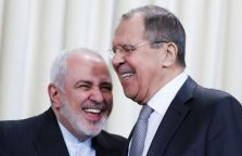Iran's Foreign Minister Mohammad Javad Zarif and Russia's Foreign Minister Sergei Lavrov react after a news conference following their meeting in Moscow, Russia, December 30, 2019. REUTERS/Evgenia Novozhenina