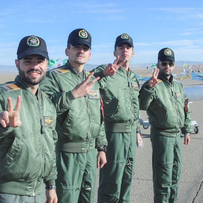 FILE PHOTO: Iranian army forces who attend drill flash victory signs as they pose for a picture at large-scale drone combat exercise of Army of the Islamic Republic of Iran, in Semnan, Iran January 4, 2021. REUTERS./