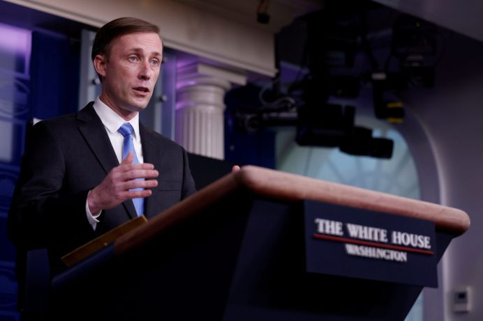 FILE PHOTO: White House National Security Advisor Jake Sullivan. REUTERS/Tom Brenner