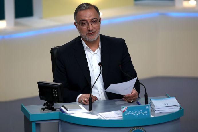 Presidential candidate Alireza Zakani attends an election debate at a television studio, in Tehran, Iran June 12, 2021. REUTERS./