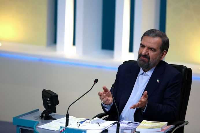 Presidential candidate Mohsen Rezaee attends an election debate at a television studio, in Tehran, Iran June 12, 2021.REUTERS./