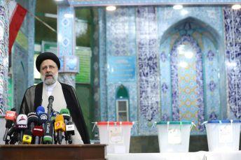 Presidential candidate Ebrahim Raisi speaks at a polling station in Tehran, Iran June 18, 2021. REUTERS./