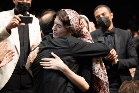 Asghar Farhadi with the daughter during the closing ceremony of the 74th annual Cannes Film Festival on July 17, 2021 in Cannes, France. Photo by David Niviere/ABACAPRESS.COM