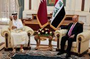 Iraq's President Barham Salih meets Qatar's Emir Sheikh Tamim bin Hamad al-Thani during the welcome ceremony ahead of the Baghdad summit at the Green Zone in Baghdad, Iraq August 28, 2021. REUTERS/Thaier Al-Sudani