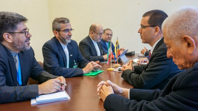 In the photos taken on February 25, 2020, Venezuelan Foreign Minister Jorge Arreaza (2nd right), during a bilateral meeting with Ali Bagheri Kani (2nd left), deputy of International Affairs of the Judiciary and secretary of the High Council for Iran's Human Rights at the UN offices in Geneva, Switzerland on February 25, 2020. The meeting took place during the 43rd session of the Human Rights Council of the United Nations Organization (UN), which It is celebrated in the European country until next March 20. REUTERS./