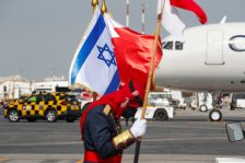 Flags of Israel and Bahrain are seen at Bahrain International Airport upon arrival of Israeli Foreign Minister Yair Lapid, in Muharraq, Bahrain, September 30, 2021. REUTERS/Hamad I Mohammed